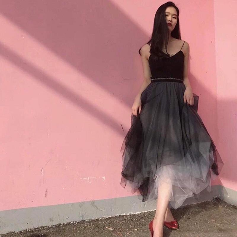 các kiểu áo mặc với chân váy xòe