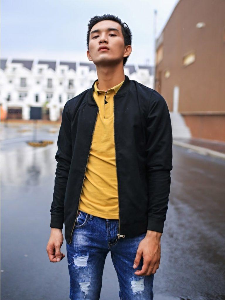 áo bomber đen
