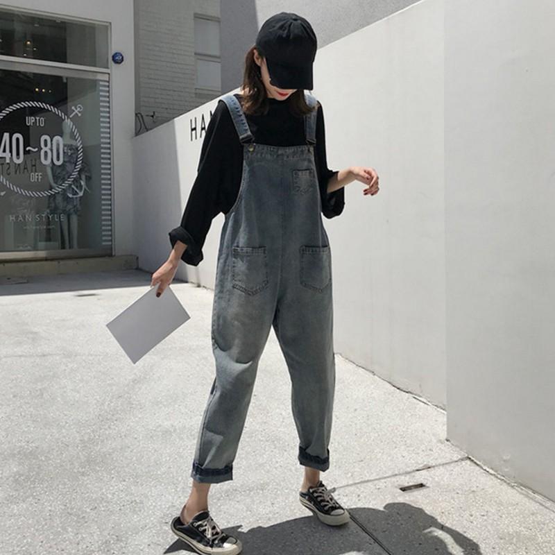 quần yếm vải đen