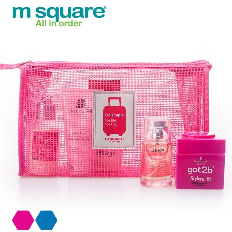 Túi lưới đựng mỹ phẩm nhỏ gọn Go Simple Pink màu hồng